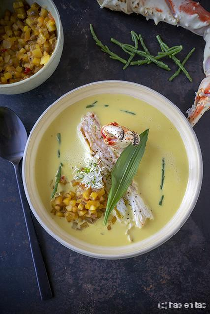 Kokos masalasoep met king crab