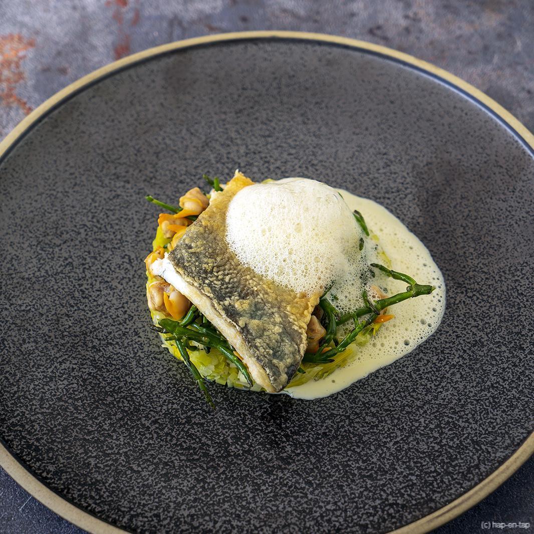 Zeebaars met groene curry en schelpjes
