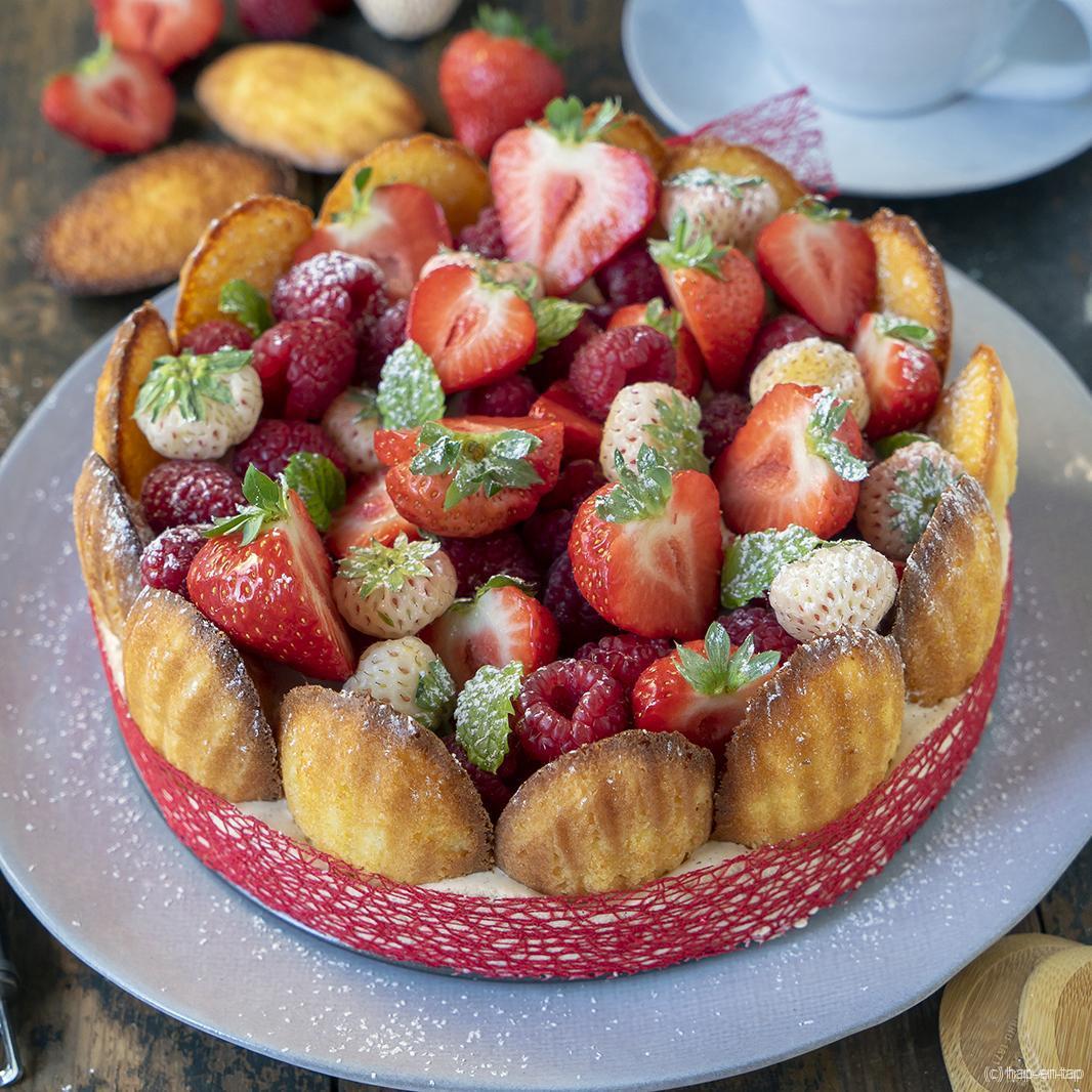 Aardbeiencharlotte met madeleines