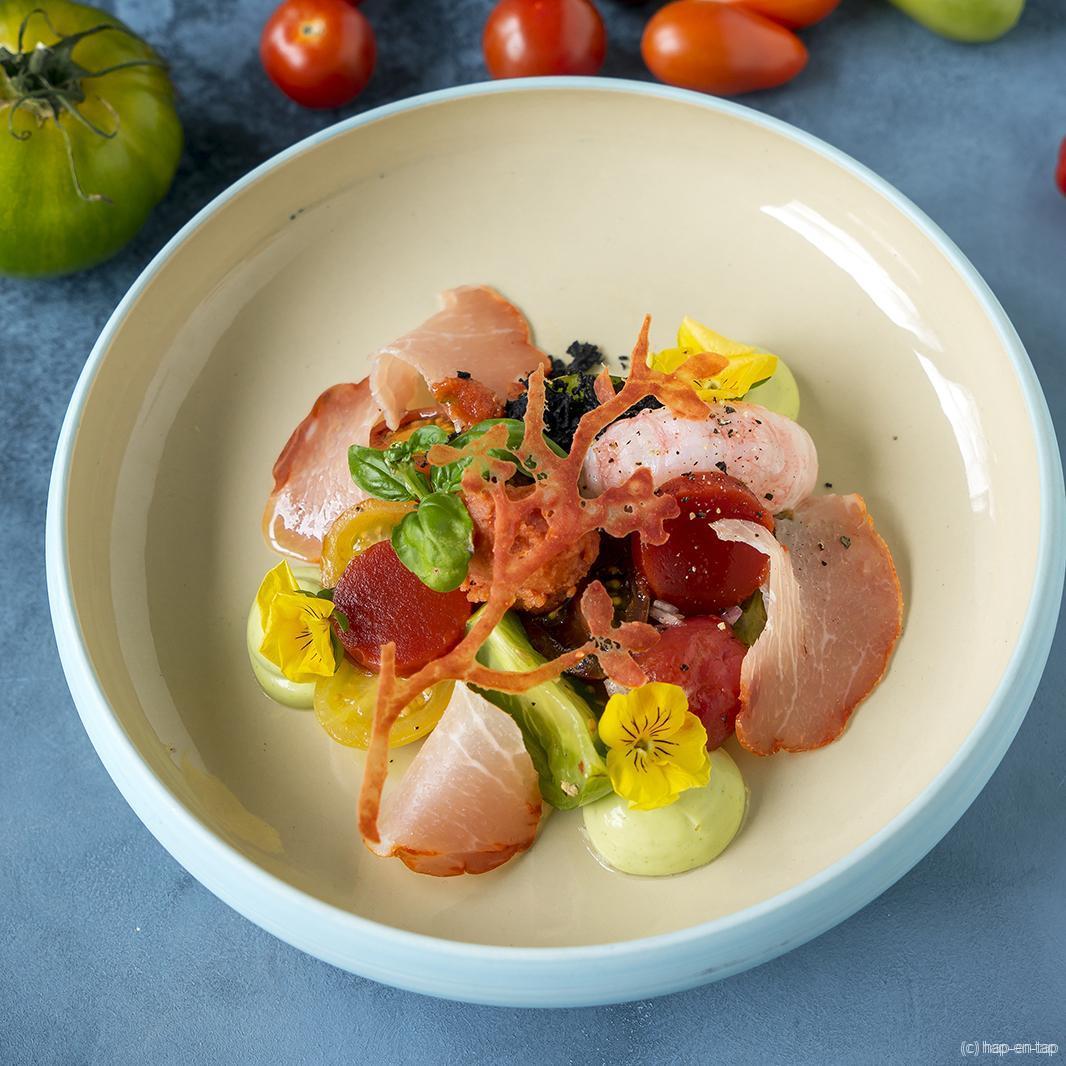 Structuren van tomaat, lomo, langoustine