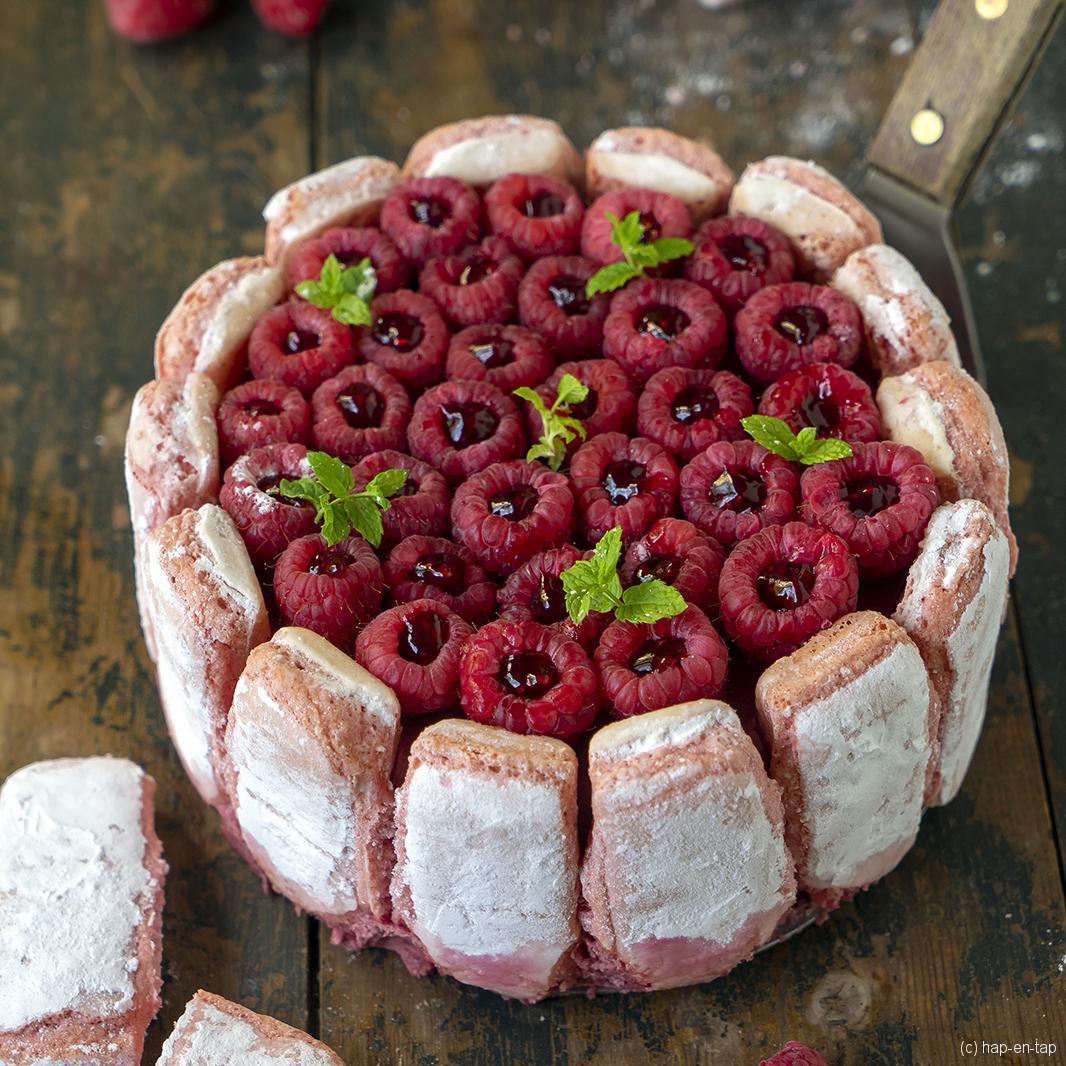 Frambozentaartje met biscuits roses de Reims