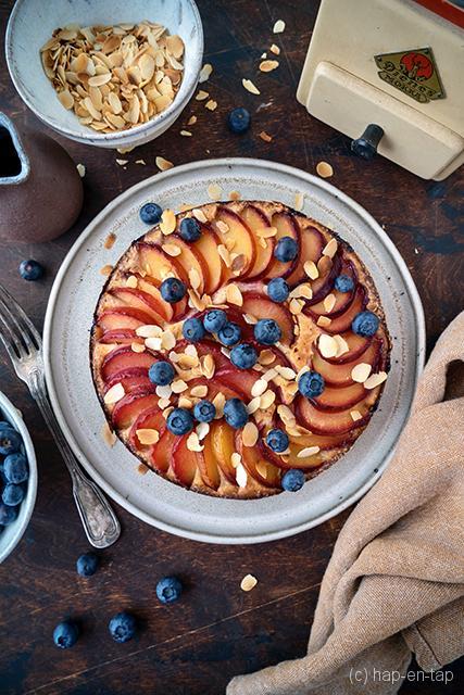 Pruimencake met ricotta en olijfolie