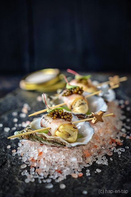 Gillardeau oesters met bacon en kaviaar