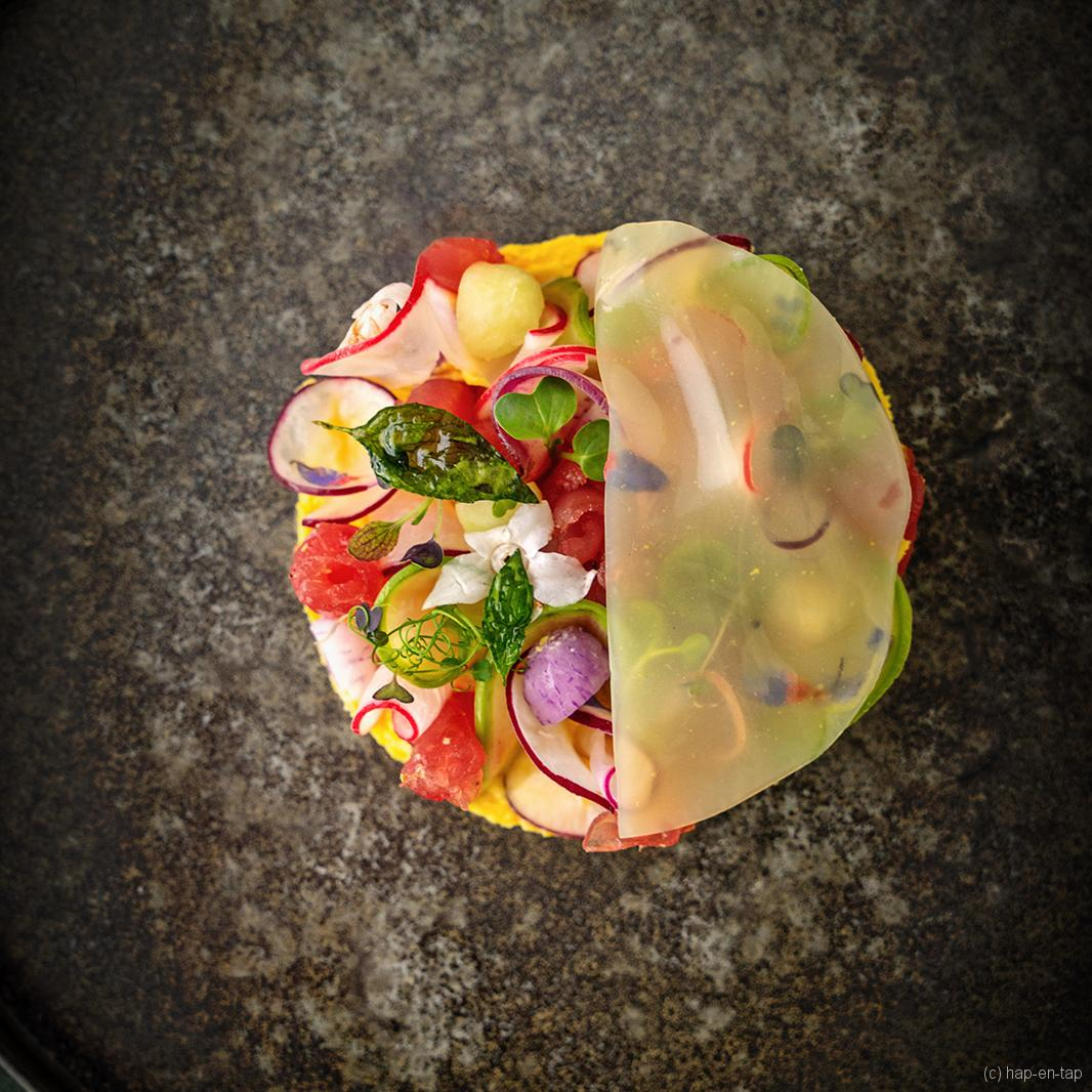 Carpaccio van tonijn, maispuree, gembergelei, radijs en Thaise basilicum