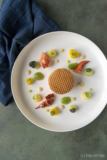 Bretoense kreeft, appel, komkommer, stroopwafel