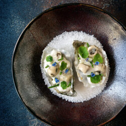 0esters met daikonsalade en oestercrème