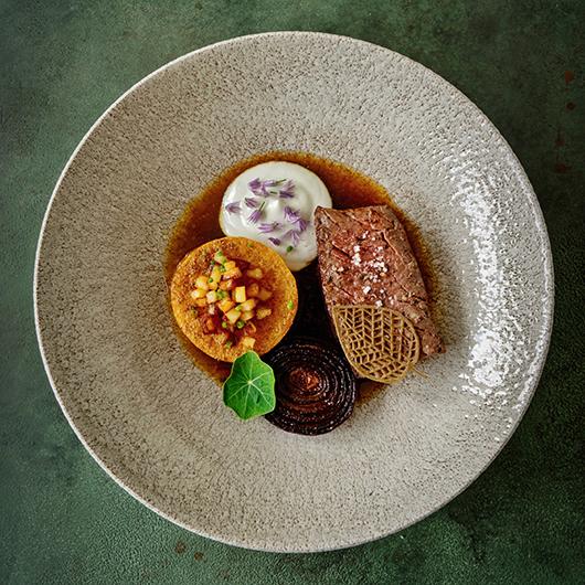 Tournedos, geroosterde butternut, kaascrème, uienjus