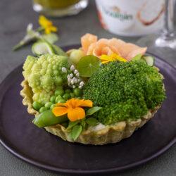 Groene tartelette met Boursin en gerookte zalm