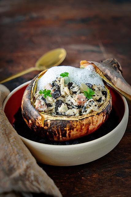 Ui, spek, Breydelham, truffel en parmezaanschuim